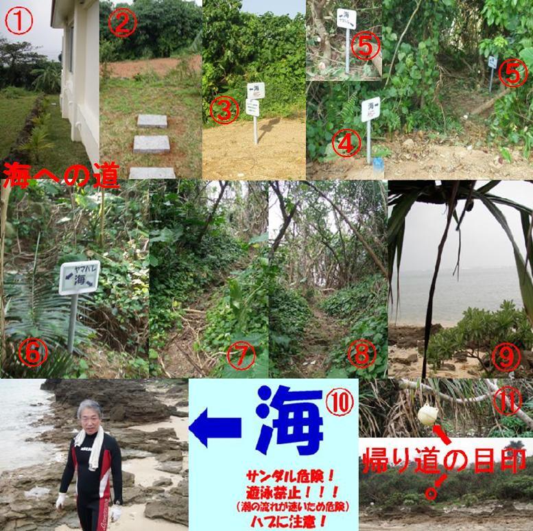 ひるずやまばれ 海 小道 ヤマバレ海岸 歩く 看板 ジャングル プライベートビーチ