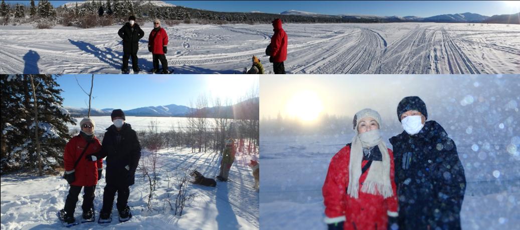 スノーモービル ホワイトホース 湖 寒じき