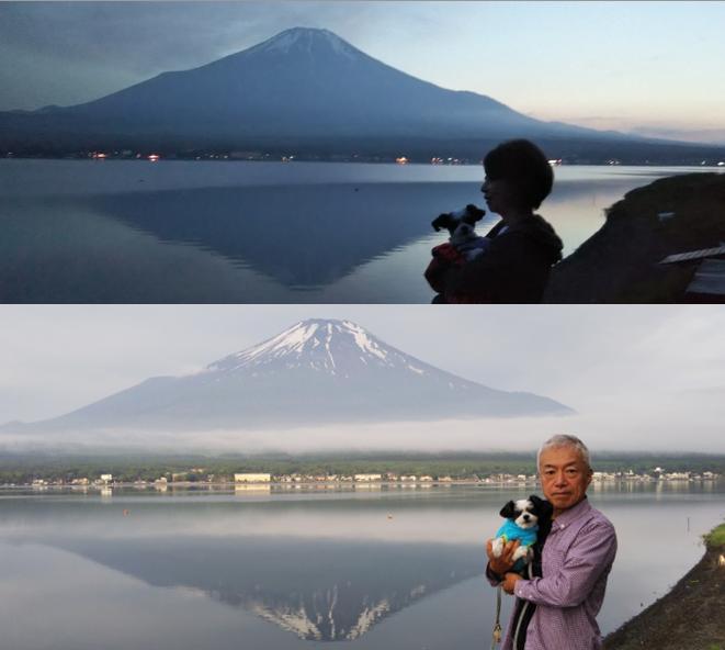 富士山 逆さ富士 夕暮れ 早朝 湖畔 山中湖